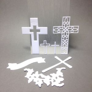 Scrapki ażur cross mix wys 2, 2,3  5,5 , 6  cm 7 szt satin white  (250gr ) -1 zestaw