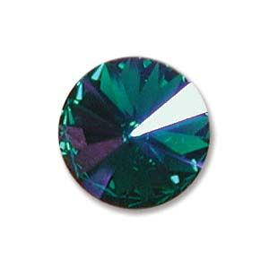 Swarovski Rivoli 12mm Foiled Emerald Glacier Blue 1122 1 szt.