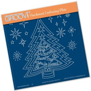 Szablon do Pergamano Nested Christmas Tree & Verse No.1 A5 Square Groovi Plate - 1 szt