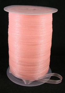 Wstążka -tasiemka 6 mm organza Light Salmon - 1m