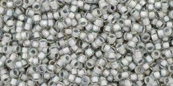 Toho Round 15/0 Inside-Color Rainbow Crystal/Gray-LinedTR-15-261 -5 gram