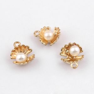 Alloy Charms shell with imitation pearl 12x15mm  golden-color - 1 pc