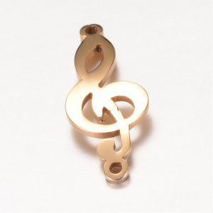 ŁĄCZNIK Musical Note, Golden, 24.5x9.5x1mm Stainless Steel  1 SZT