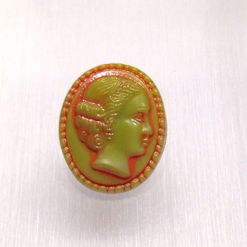 Guzik szklany 28x18 mm Cameo  green / orange - 1 szt