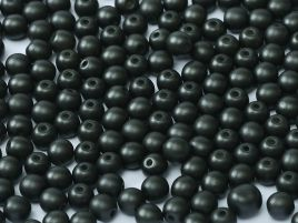 Round Beads 2 mm Alabaster Pastel Black - 50 szt