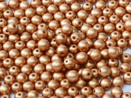 Round Beads 2 mm Alabaster Metallic Copper - 50 szt