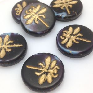 Koraliki Czech Glass Beads  Dragonfly 23mm matte/bronze