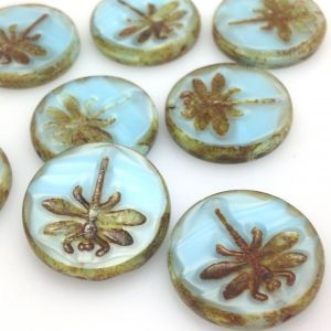 Koraliki Czech Glass Beads  Dragonfly 23mm picasso