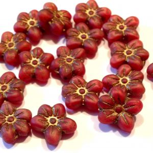 Koraliki Czech Glass  Flowers lovely 14x13mm matte coral red /old patina