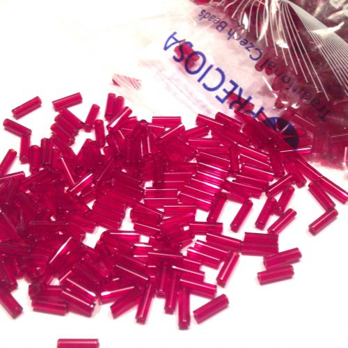 Preciosa Bugle  7mm - Transparent Ruby  - 10 gram