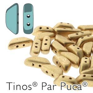 Tinos® Par Puca® 4x10 mm LIGHT GOLD MAT (ok 24 szt)- 5 gr