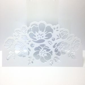 Scrapki BORDER FLOWER 15,5x8,8 cm satin white (250gr ) -1 szt